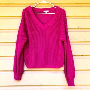BP. Hot Pink Cropped Sweater Top V Neck